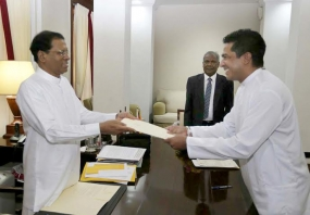 Sujeeva Senasinghe take oath as acting Justice Minister