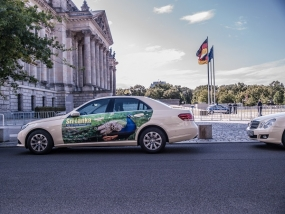 300 Mega Taxi Advertising Campaign in Germany receives high response!