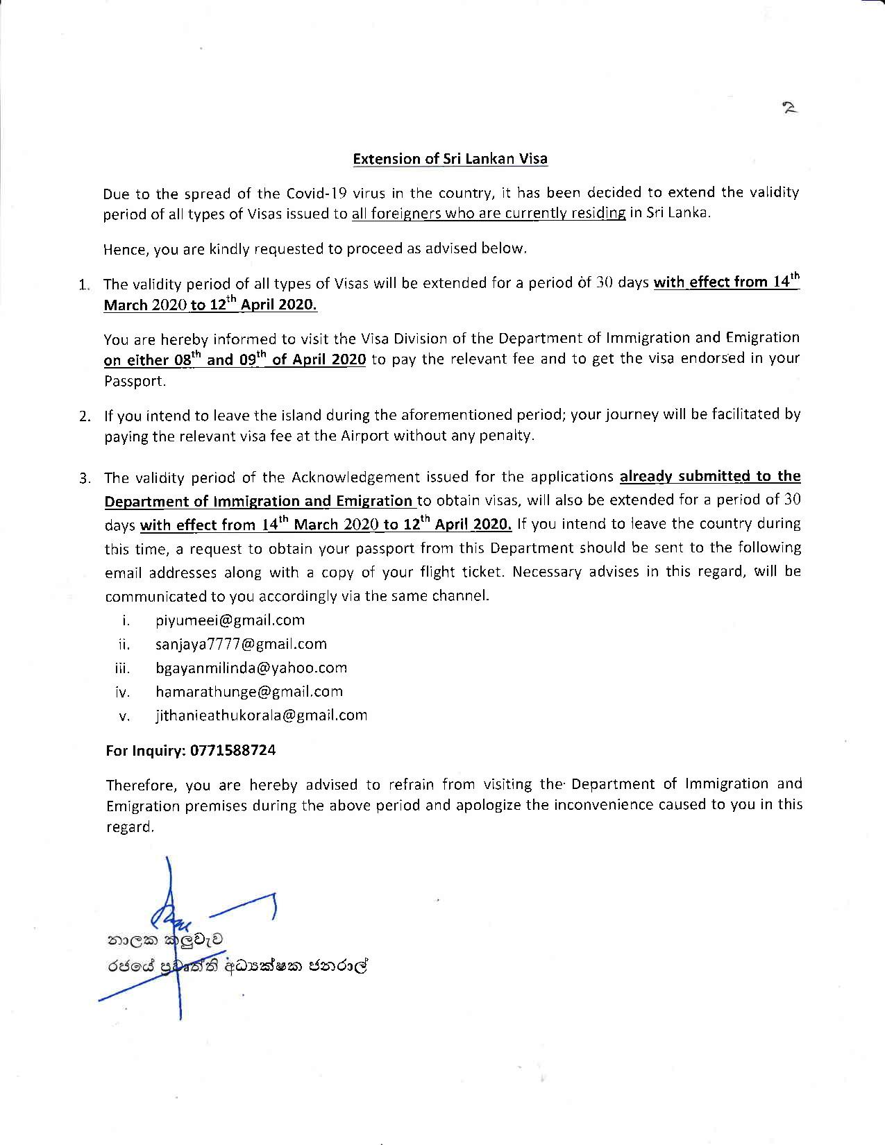 Media Release Extension of Sri Lanka Visa page 002