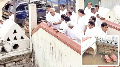 PRESIDENT INSPECTS RENOVATION WORK OF HISTORIC MOAT