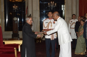 High Commissioner Professor Sudharshan Seneviratne; Presents Credentials to the President of India