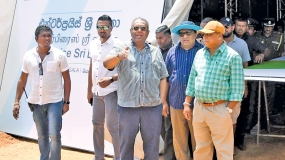 Ministers inspect the final arrangement of the Enterprise Sri Lanka Exhibition in Monaragala