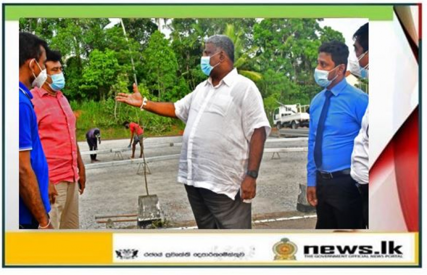 Tourism Minister inspects the construction work of the temporary ward at the Minuwangoda Base Hospital