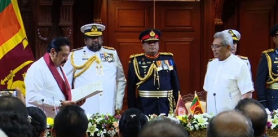 Mahinda Rajapaksa sworn in as new P M