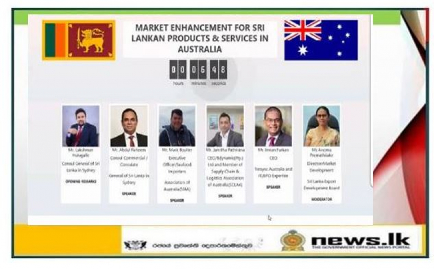 Webinar on Market Enhancement for Sri Lankan Products and Services in Australia