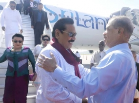 Sri Lankan President Mahinda Rajapaksa arrives in Seychelles for official visit