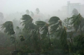 Increasing wind speed over the island due to severe cyclonic storm