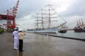 Russian sail training ship 'Nadezhda' arrives at the port of Colombo