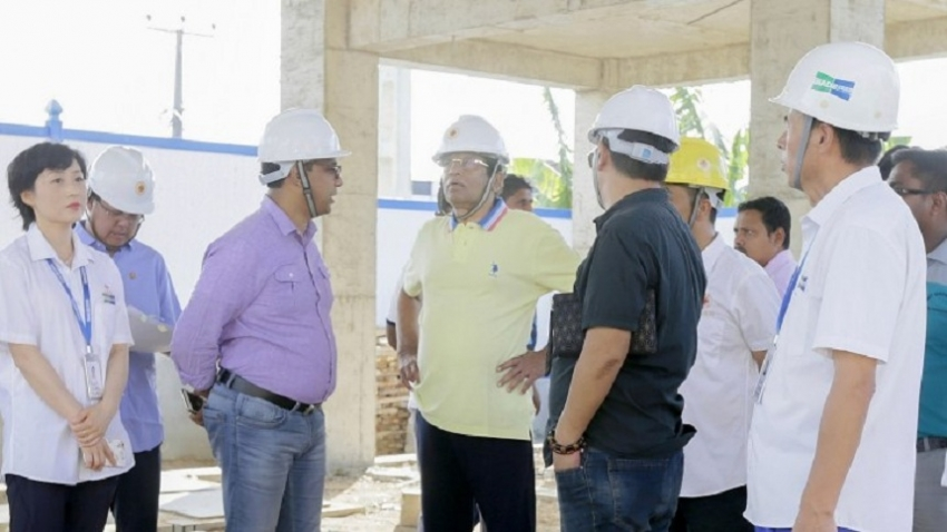 President inspects the progress of the Nephrology Hospital construction in Polonnaruwa