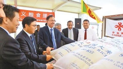 Chinese rice donation arrives