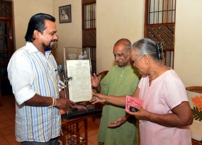 Special gift from Minister Wimal to Mr & Mrs.Amaradeva on their 51st wedding anniversary
