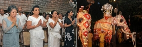 First Lady Shiranthi Rajapaksa watch First Kumbal Perahera
