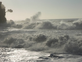 Sea fairly rough off southern coast