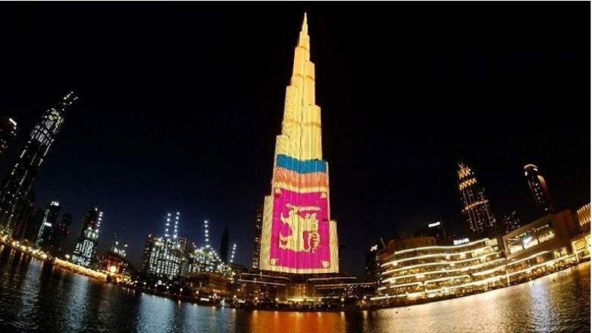 Dubai's Burj Khalifa lights up with Sri Lanka flag