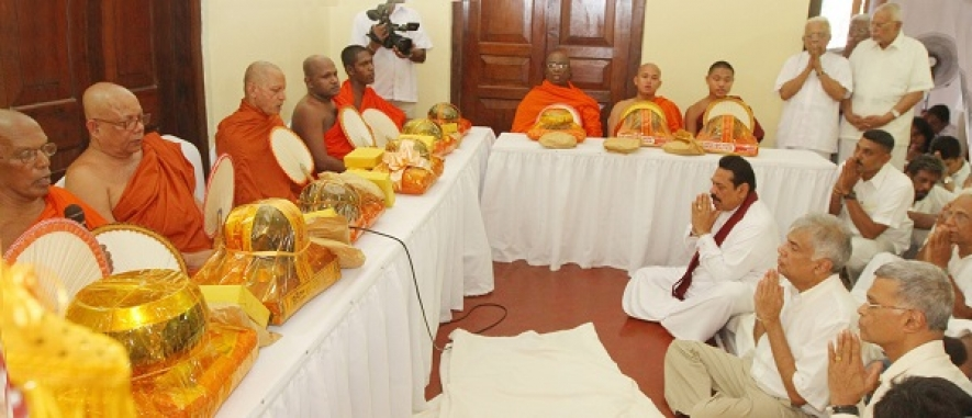 President Joins Late Sam Wijesinghe's Seventh Day Alms Giving