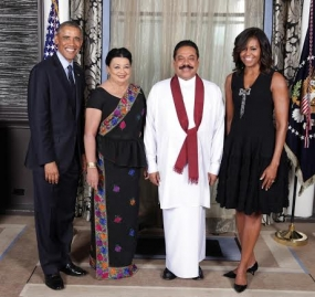 President Rajapaksa and First Lady Attend Reception by US President Obama