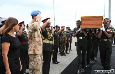 UN Peacekeepers' remains brought amidst Military Honours at BIA