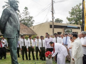 President unveils statue of R. I. T. Alles at DS Senanayake college