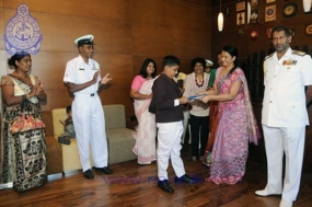 SL Navy grants cash award and a scholarship to Malaka who excelled in scholarship exam