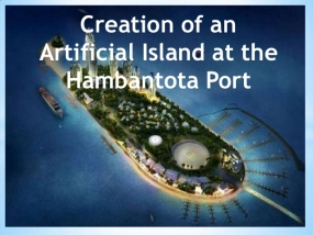 Construction  of  Hambantota artificial island in progress